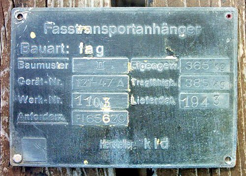 Fasstransportanhanger label